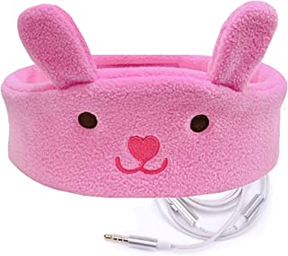 Charlxee Kids Headphones Children Girls Boys Teens Volume Limiting Foldable and Durable Headphone Headband for School, Home and Travel-Pink Bunny