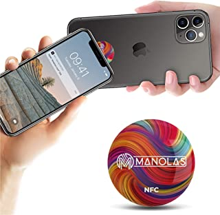 NFC Pop Tag Socket for All NFC-Enabled Cell Phone Devices: Adhesive Sticker for Business and Office - Contacts Card, Socia...