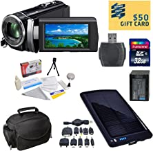 Sony HDR-PJ210 Digital HD Camcorder with Ultimate Accessory Kit - Includes 32GB High-Speed SDHC Memory Card + Card Reader + Replacment Sony FV100 4200mAh Battery Pack + Deluxe Padded Carrying Case + Solar Battery Charger / Backup + Lens Cleaning Kit including LCD Screen Protectors Photo Print