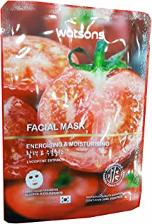 4 Mask sheets of Watsons Energising & Moisturising Lycopene Extract Facial Mask. Free from Parabens, Alcohol & Colourants. Bamboo Fabric Mask Sheet. Made in Korea. (30 Ml Essence/sheet)
