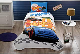 TI Home Hot Wheels Challenge Licensed Bedspread/Coverlet Set, 100% Cotton Single Size 3-Pieces