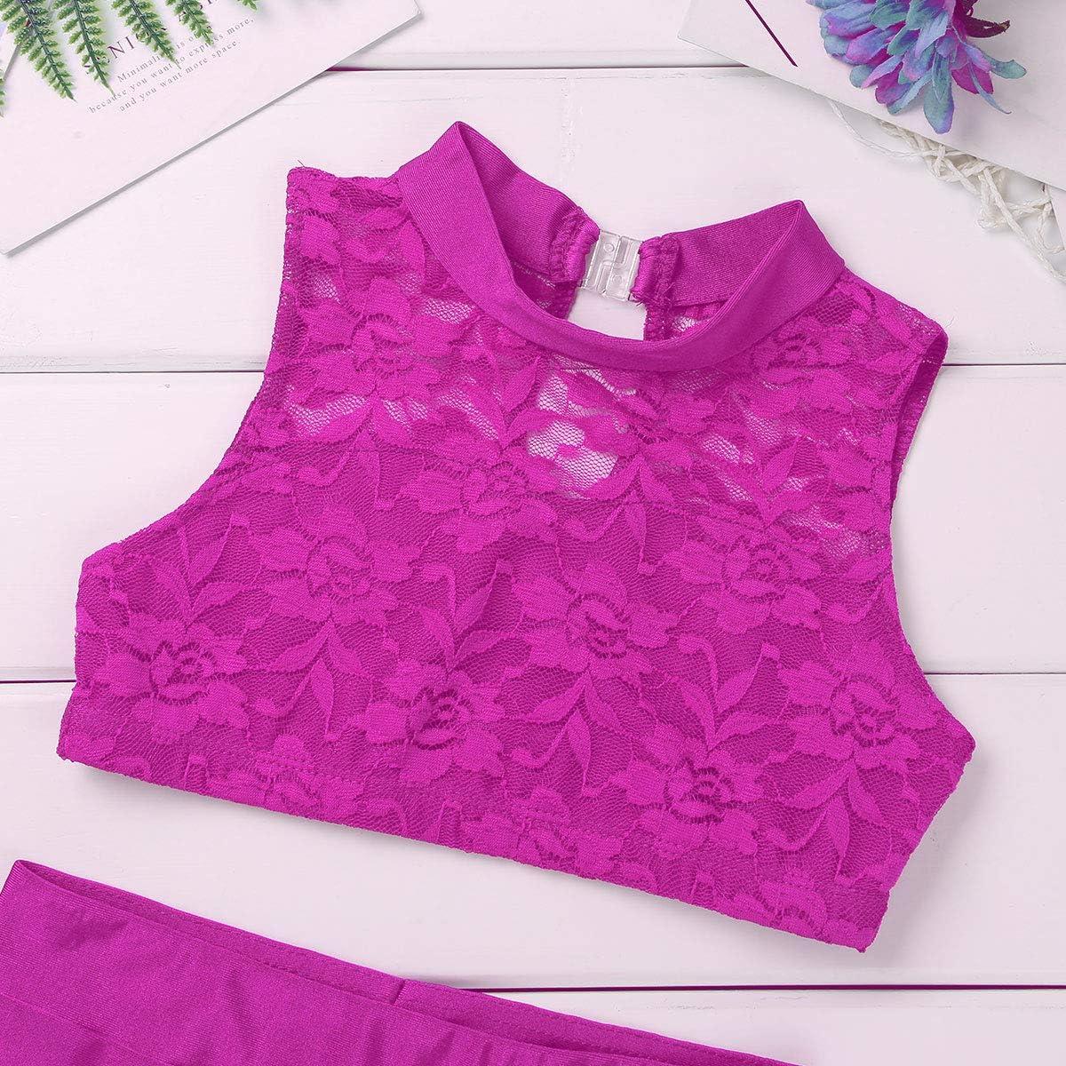 Zaldita Big Girls Floral Lace Tracksuit Solid Mock Neck Crop Top with Booty Shorts Gymnastics Leotard Ballet Dance Costume