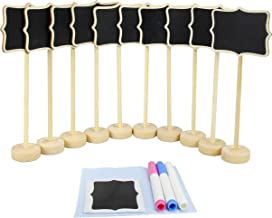 Mini Chalkboard Signs with Stand Set Erasable Wood Rectangle Message Board Signs Pack of 10 by MoArmor
