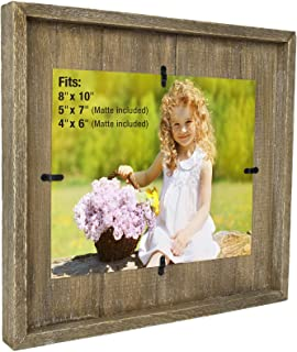 Excello Global Products 8x10 Rustic Photo Frame: Farmhouse Solid Wood Plank Photo Holder. Wall Mount Hanging Display Includes Double 4x6 and 5x7 Mattes. Ready to Hang Horizontally or Vertically