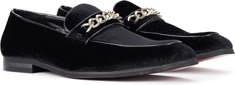 Santino Luciano Men's Velvet Chain Link Loafers