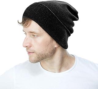 The Hat Depot Knit Skull Long Beanie Plain Ski Hat - [Made in USA] and Neck Gaiter & Warmer NECKSK