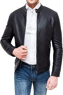Da Uomo Classica Giacca Bomber Blouson in pelle marrone scuro stile classico da uomo 303