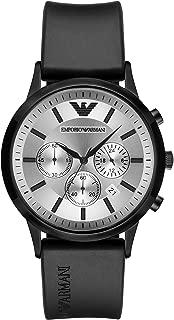 Emporio Armani Men's Quartz Watch with Black Silicone Strap, Black, 21 (Model: AR11048)