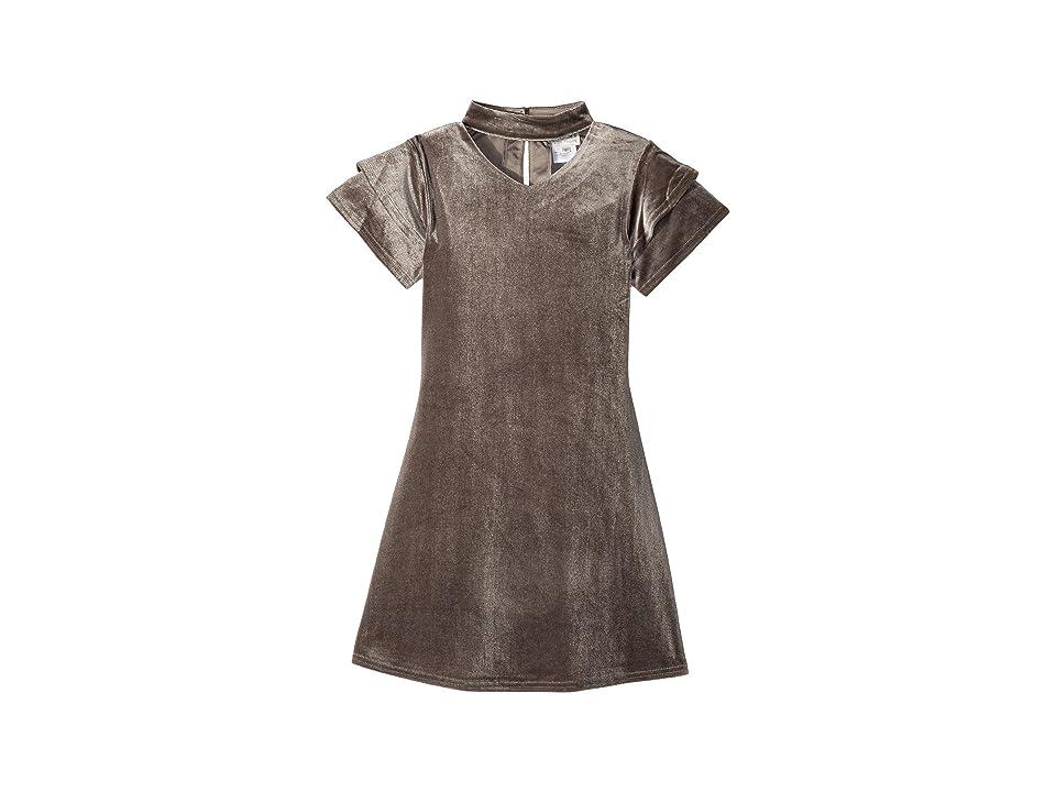 4926b20fd9 Us Angels Gigi Velvet Dress (Big Kids) (Silver) Girl's Dress