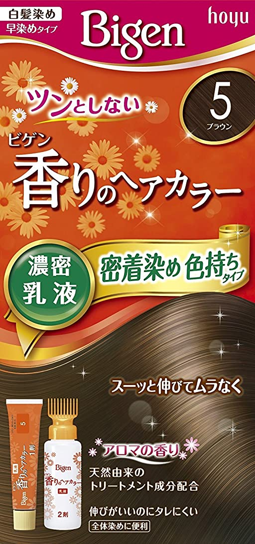 混乱した象医学ホーユー ビゲン香りのヘアカラー乳液5 (ブラウン) 40g+60mL ×6個