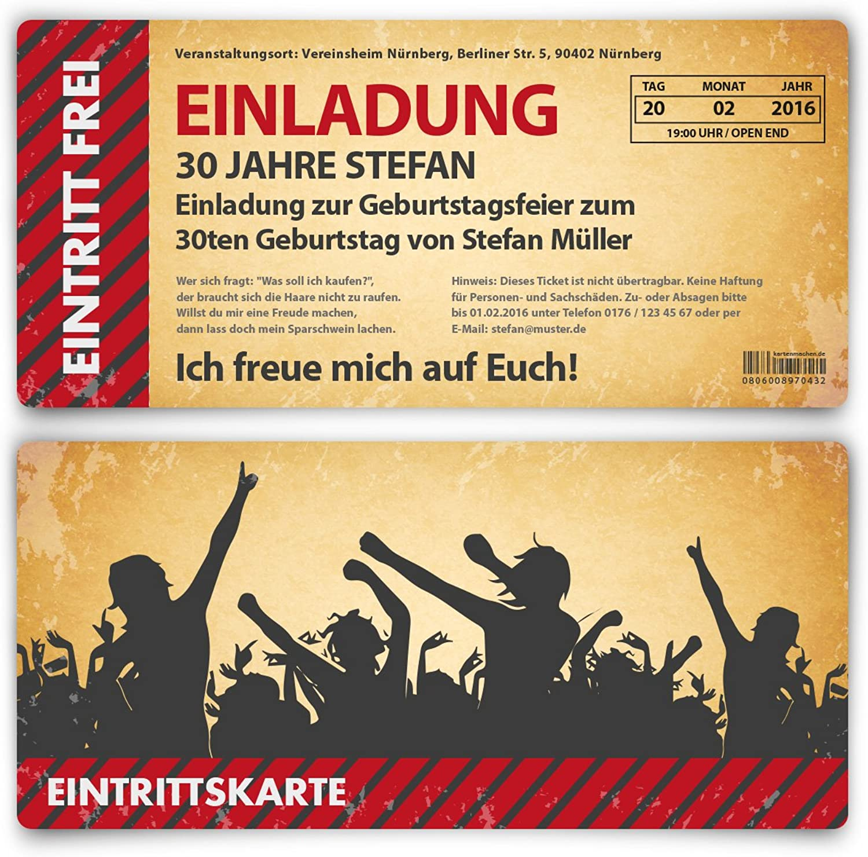 Einladungskarten zum Geburtstag (60 Stück) als Eintrittskarte im Vintage-Look Ticket Karte Einladung B00HT9BRO8   Neueste Technologie