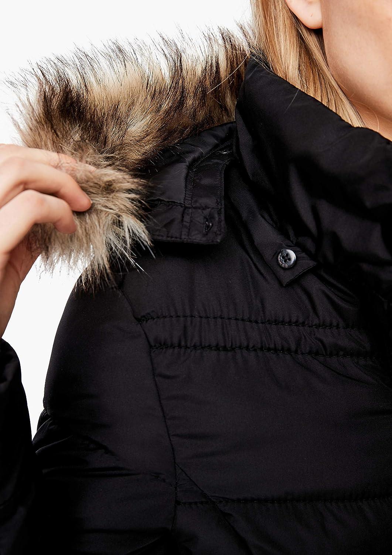 Q/S designed by - s.Oliver Damen Warmer Puffer Coat mit Webpelz Black Melange