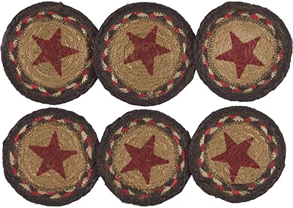 VHC Brands Classic Country Primitive Tabletop Kitchen Landon Tan Stencil Stars Jute Coaster Set Of 6 Almond