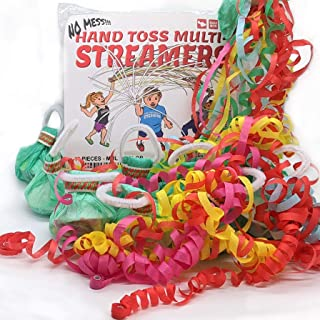 10 Pack Multi Color Hand Toss Streamers - No Mess Dazzling Paper Throw Streamer - Confetti Poppers for Wedding, Graduation, Birthday, New Years Eve, 4th of July or Any Parties