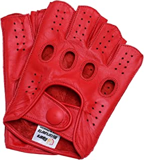 Mens Leather Reverse Stitched Fingerless Half-Finger Driving Motorcycle Gloves