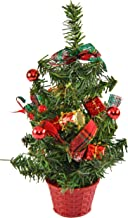 Home-X Shimmering Tabletop Christmas Tree with Green Bows and Ornaments, Cute Holiday Décor, Artificial Home Décor, Desk a...