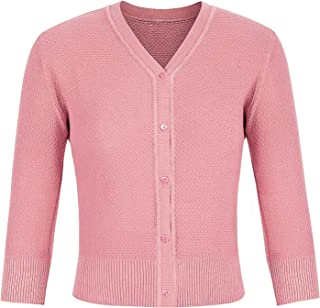 Ivicoer Women's Solid Button Down V Neck 3/4 Sleeve Cropped Knit Cardigans Sweater(S-4XL)