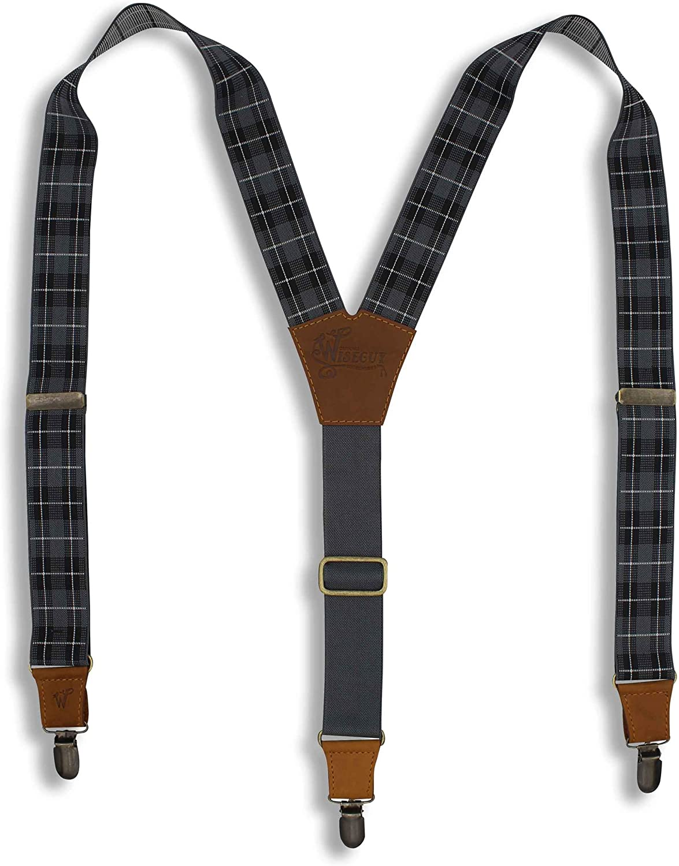 Suspenders Tartan Scottish Design Gray Black Elastic Wide 1.36 inch | Wiseguy Original