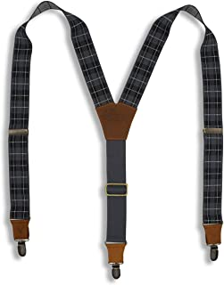 Wiseguy M/L Tartan Green Red Olive and Grey Design 1.3 inch Elastic Suspenders