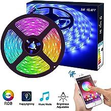 Bluetooth LED Strip Lights ALED LIGHT 5050 16.4 ft/5 Meter 150 LED Stripes Lights Smart-Phone Controlled Waterproof RGB LE...
