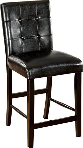 Furniture Of America Taveren Padded Leatherette Counter Height Chair Black Finish Set Of 2