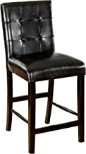 Furniture of America Taveren Padded Leatherette Counter Height Chair, Black Finish, Set of 2