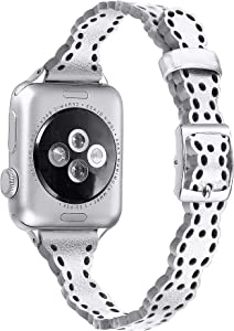 Secbolt Slim Leather Bands Compatible with Apple Watch Bands 38mm 40mm iWatch Series 6/SE/5/4/3/2/1, Elegant Top-grain Leather Hollowed-Out Thin Wristband Strap Accessories for Women, Silver