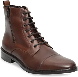 Genuine Cowhide Leather Mens Chelsea Boots Work Hiking Cowboy Military Leather Boots Men