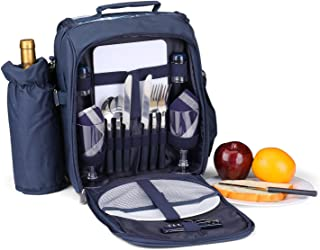 Flexzion Picnic Bag Kit - Set for 2 Person with Cooler Compartment, Detachable Bottle/Wine Holder, Plates and Flatware Cutlery Set Insulated Lunch Bag (Plaid Tartan - Blue)