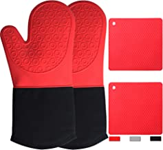 Oven Mitts and Pot Holders Sets 4 Pcs Red Silicone Pot Holders for Kitchen Heat Resistant, Heavy Duty Waterproof Long Oven...