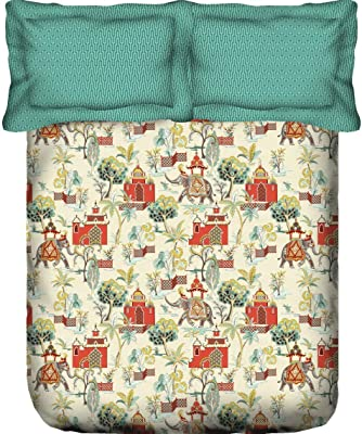 Portico New York Shalimaar Super King Size Printed 100% Cotton 144TC Double Bedsheet with 2 PC Pillow Cover- 274X274CM