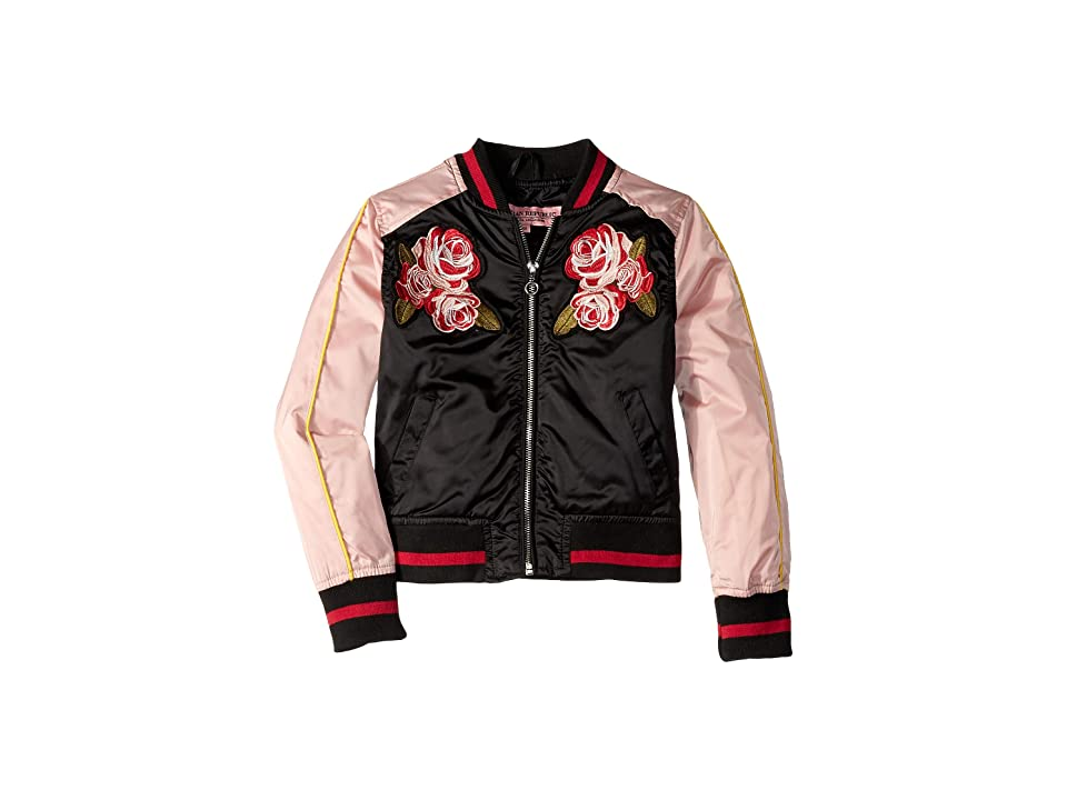 Urban Republic Kids Embroidered Sateen Bomber Jacket (Little Kids/Big Kids) (Black) Girl