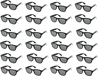 Party Sunglasses - 24-Pack Vintage 80s Retro Trendy Style Black Party Glasses, Kids Birthday Party Favors, Perfect for Bachelorette or Bachelor Party Supplies, Non-Polarized