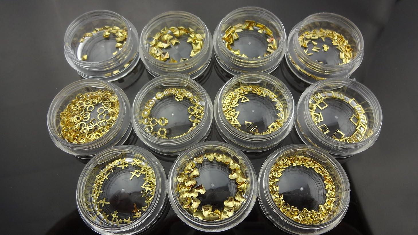 光沢のある特徴づけるストリーム【HARU雑貨】メタルスタッズ ゴールド 金 11種 110個セット/ネイル パーツ デコ アクセサリー