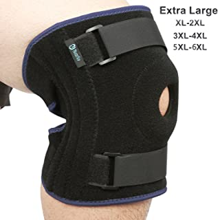 Nvorliy Plus Size Knee Brace 5XL 6XL Extra Large Open-Patella Stabilizer Breathable Neoprene Support for Arthritis, Acl, Running, Pain Relief, Meniscus Tear, Post-Surgery Recovery, Fit Men and Women
