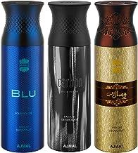 Ajmal Blu & Carbon & Wisal Dahab Deodorant Spray For Men 200ml each (Pack of 3, 600ml) + 3 Parfum Testers Free