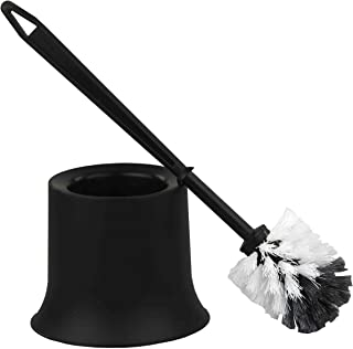 Home Basics Plastic Toilet Brush with Compact Holder, for Bathroom Storage - Sturdy, Deep Cleaning, Black