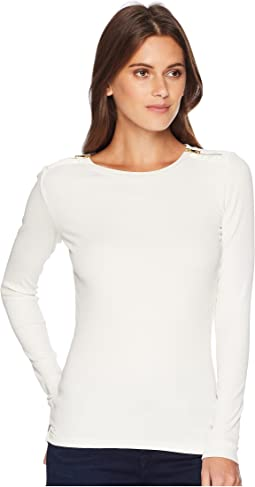 Zipper-Trim Cotton-Blend Top