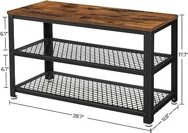 SONGMICS Vintage Shoe Bench, 3-Tier Shoe Rack, Storage Organizer Seat, Wood Look Accent Furniture Metal Frame Entryway, Livin