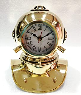 Vintage Antique Brass Divers Clock Diving Helmet Collectable Desk Decorative