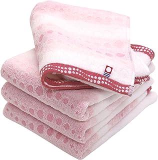 hiorie(ヒオリエ) 今治タオル 認定 フェイスタオル 幾何ジャガード クレール 4枚セット ピンク 日本製 今治ブランド