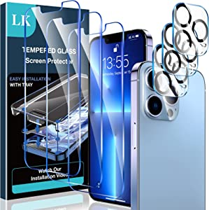 [3+3 Pack] LK 3 Pack iPhone 13 Pro 5G Screen Protector + 3 Pack Camera Lens Protector, 9H Tempered Glass, HD Clarity, Bubble-Free, Case-Friendly, Upgraded Screen Protector for iPhone 13 Pro, 6.1-Inch
