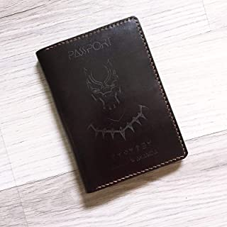 Black Panther Wakanda Personalized leather handmade passport cover holder wallet case gifts