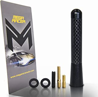 "Mega Racer 1 x Universal Black 3.25"" in / 83 mm Real Carbon Fiber Screw Type Short Stubby Antenna Replace Sport Auto Car SUV AM/FM"