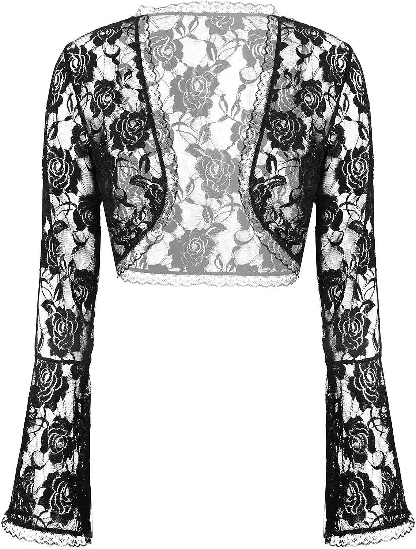YOOJIA Women's Elegant Long Sleeve Sheer Floral Lace Shrug Top Bolero Jacket Open Front Cropped Cardigan