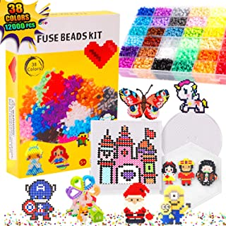 Bachmore Fuse Beads Craft Kit Melty Fusion Colored Beads- 12,000 pcs 38 Colors Fuse Beads Craft Set for Kids Including 5 P...