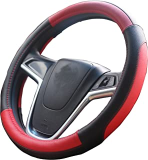 Mayco Bell Car Steering Wheel Cover 15 inch Comfort Durability Safety (Black Red)
