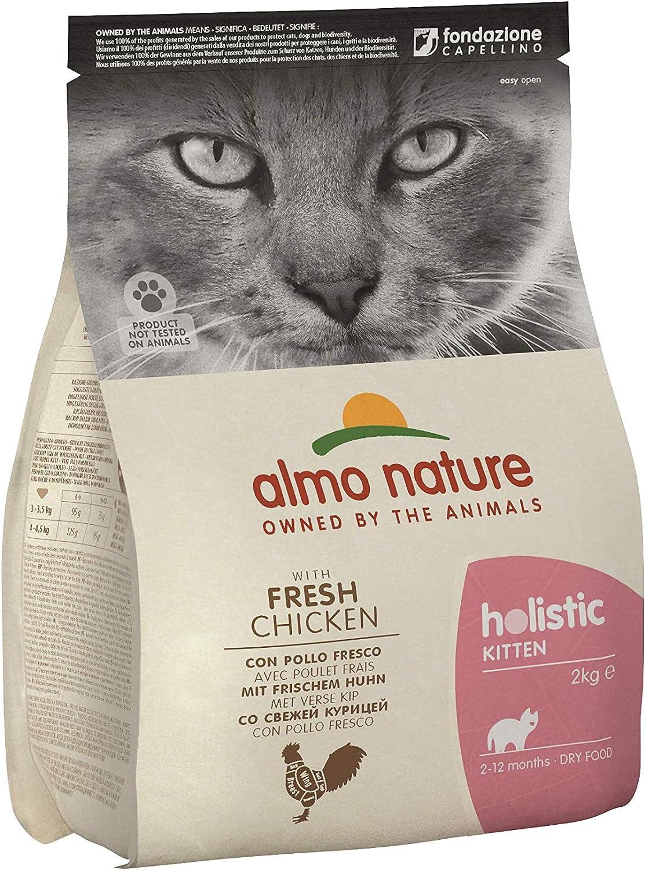 almo nature   Pienso para Gatos, Gatitos Pequeños Holistic Kitten Pollo y Arroz (2 kg). Comida para Gatos Junior Natural. Alimento Balanceado Seco, Alto en Proteínas.