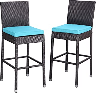Do4U Set of 2 Patio Bar Stools All-Weather Wicker Outdoor Furniture Chair, Bar Chairs with Beige Cushions & Footrest | Garden Pool Lawn Backyard | Steel Frame| Barstools (985-EXP-TRQ)