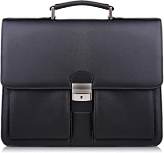 S-ZONE Mens Leather Flapover Briefcase Messenger Bag fit 14 inch Laptop Bag